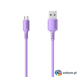 SOMOSTEL KABEL USB MICRO 3A SOMOSTEL FIOLETOWY 3100MAH QUICK CHARGER 1.2M POWERLINE SMS-BP06 MACARON SMS-BP06 F