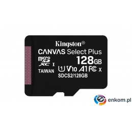 Karta pamięci z adapterem Kingston Canvas Select Plus SDCS2/128GB (128GB  Class 10, Class U1, V10  + adapter)