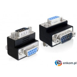 Adapter Delock Serial 9-pin COM (M) - Serial 9-pin COM (F) kątowy czarny