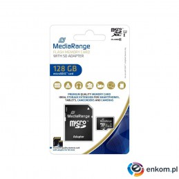 Karta pamięci MicroSDXC MediaRange MR945 128GB Class 10 UHS-1 + adapter SD