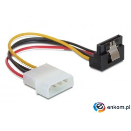 """Kabel zasilający SATA Delock Molex 4-pin (M) -  SATA 15-pin (F) metalowy zatrzask kątowy 90"""" dół 0,15m"""