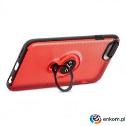 Etui na iPhone 7 eXc MAGNETIC transparentno-czerwone