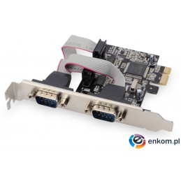 Kontroler COM Digitus PCIe, 2x RS-232/COM, Low Profile, Chipset AX99100