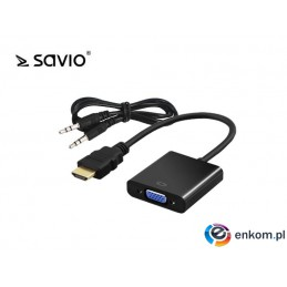 Kabel adapter Savio CL-23/B HDMI - VGA