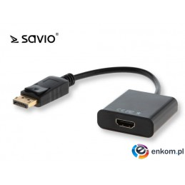 Kabel adapter Savio CL-55/B DisplayPort M - HDMI A F, worek