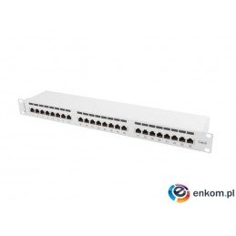 Patch panel Lanberg PPS6-1024-S 24 port 1U kat.6 ekranowany szary