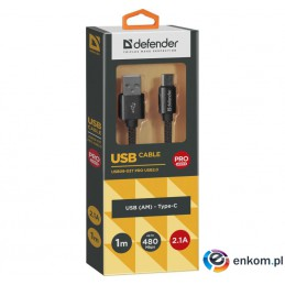 Kabel USB Defender AM-TYPE C 1m 2,1A czarny