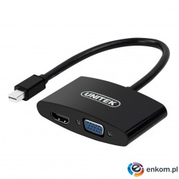 Adapter Unitek Y-6328BK miniDisplayPort do VGA/HDMI