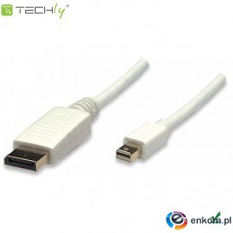 Kabel DisplayPort Techly Mini DisplayPort/DisplayPort M/M, 2m, biały