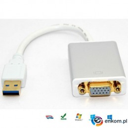 Kabel adapter Techly USB 3.0 na VGA, biały