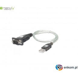 Kabel adapter Techly USB na port szeregowy RS232/COM/DB9