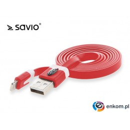 Kabel USB - Lightning Savio CL-74 czerwony iPhone