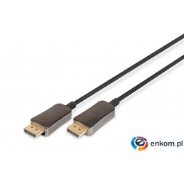 Kabel DIGITUS DisplayPort Hybrydowy 1.4 AOC 3D 8K 60Hz UHD up to 32.4 Gbps DP/DP M/M czarny 15m