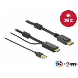 Kabel adapter Delock HDMI - DisplayPort M/M 4K 2m zasilany USB-A czarny