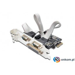 Kontroler COM+LPT Digitus PCIe, 2x RS-232/COM, 1x Parallel/LPT, Low Profile, Chipset AX99100