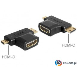 Adapter Delock HDMI-A (F) -  mini HDMI-C + micro HDMI-D (M)