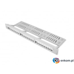 "Patch panel pusty Lanberg PPKS-1124-S 24 port 1U 19"" z organizerem do modułów keystone szary"
