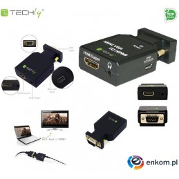 Adapter Techly IDATA VGA-HDMINI VGA+Audio Jack 3,5mm na HDMI 1080p