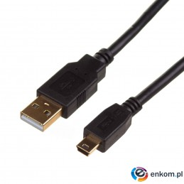 "Kabel USB 2.0 Digitus HighSpeed ""Canon"" Typ USB A/miniB (5pin) M/M czarny 1m"