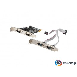 Karta Lanberg PCI Express -  COM 9Pin x4 + śledzie low profile