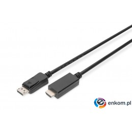 Kabel adapter DIGITUS DisplayPort 1.2 4K 60Hz UHD Typ DP/HDMI A M/M czarny 1m