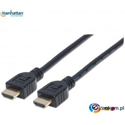 Kabel Manhattan HDMI/HDMI V2.0 M/M Ethernet 3D4K CL3, czarny, 5m