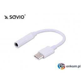 Kabel adapter Savio AK-35 USB Typ C - mini Jack 3,5 mm, biały
