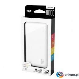 Powerbank Silicon Power S100 10000mAh 2xUSB LED biały