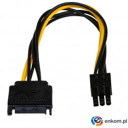 Kabel adapter Akyga AK-CA-30 SATA (M) - PCI-Express 6-pin (F) 0,15m