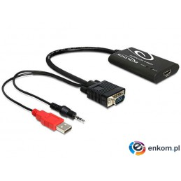 Adapter Delock HDMI-  VGA + audio 3.5mm JACK + power USB