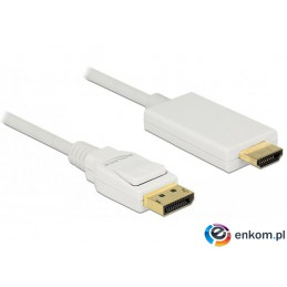 Kabel adapter Delock DisplayPort v1.2A - HDMI M/M 3m 4K biały