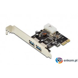 Kontroler USB 3.0 DIGITUS PCIe, 2x USB 3.0, Low Profile, Chipset UPD720202