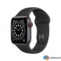 Apple Watch Series 6 GPS + Cellular, 40mm Space Gray Aluminium Case with Black Sport Band - Regular