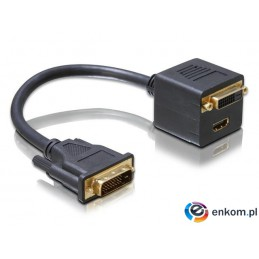 Adapter Delock DVI-D(M)(24+1)DL- DVI-D(F)(24+1)DL +HDMI 0,2m