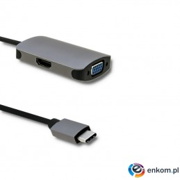 Kabel adapter Qoltec USB 3.1 C / HDMI | VGA