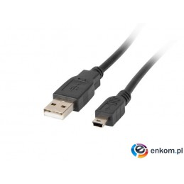 Kabel USB 2.0 Lanberg mini AM-BM5P(CANON) 0,3m czarny